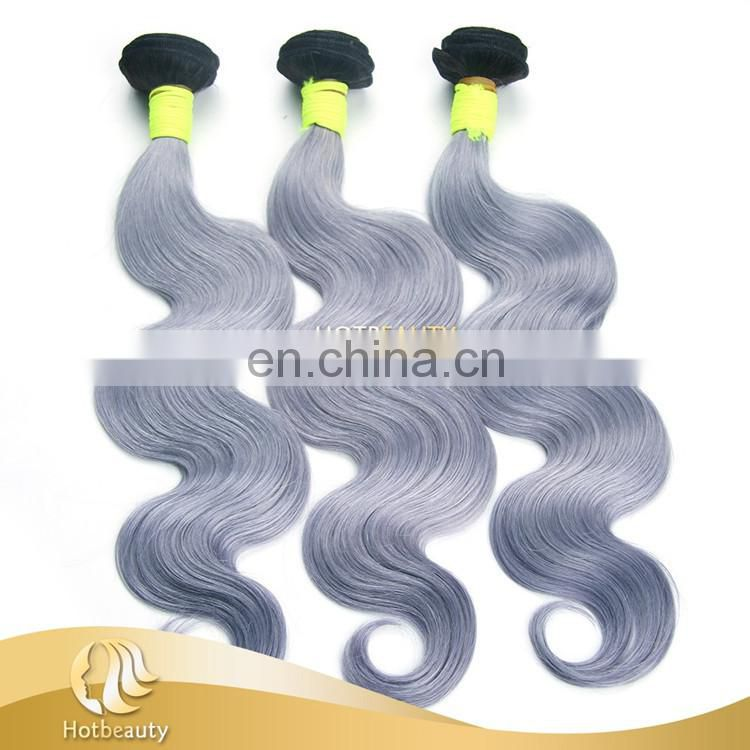 New 7A Brazilian Vrigin Remy Ombre Human gray Hair Bundle Two Tone colors Curly Hair Weave Weft Unprocessed Hair