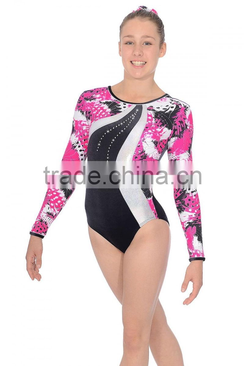 Wholesale Gymnastics Girl Long Sleeve metallic leotards