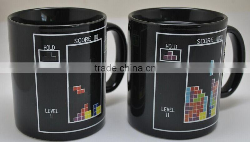 11 oz Black Color Changing cup brilliant black heat sensitive color change mugs