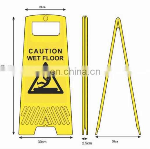 customized yellow plastic equipment warning sign with floor
