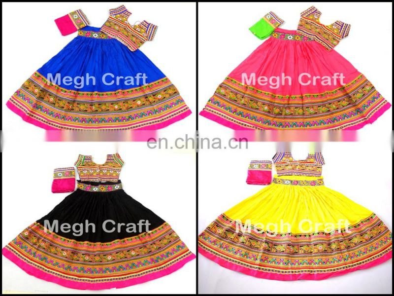 Indian Traditional rabari Embroidered Ghagra Choli- Cotton Pathwork Chaniya Choli