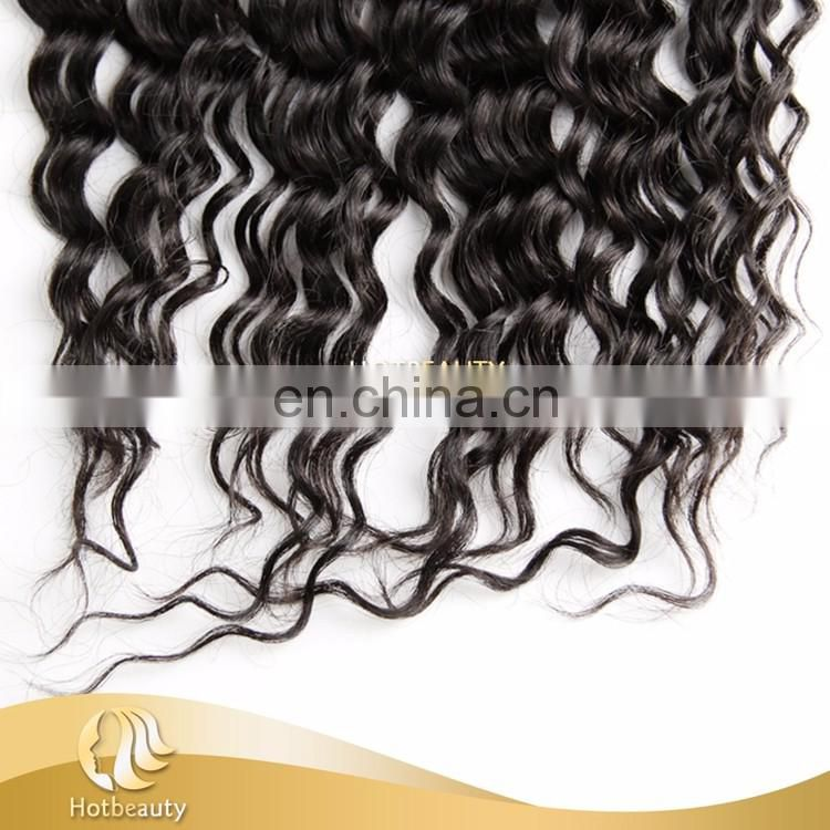 360 frontal lace closure with bundles natural remy extensions hair deep wave