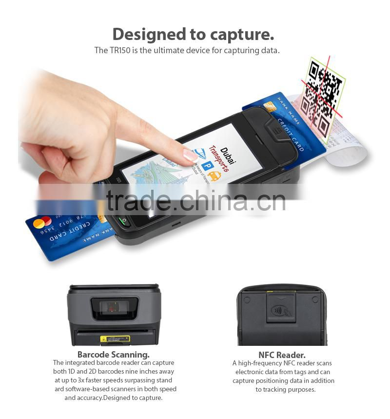 android handheld pos terminal barcode scanner printer NFC WIFI bank card reader