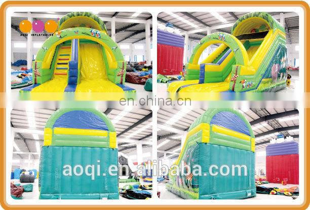Much fun amusement park inflatable standard slide forest theme top quality water park jumping slide with beautiful printing