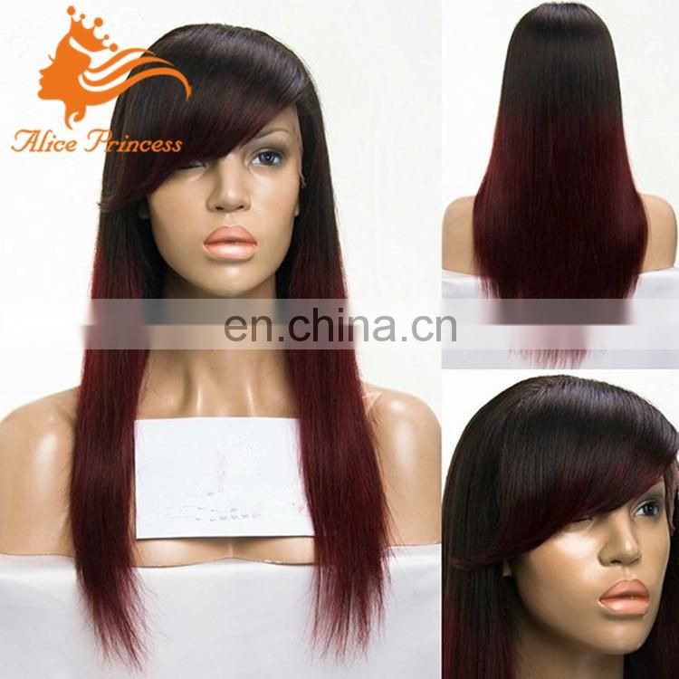 elastic band brazilian hair glueless full lace wig 99J human hair wig with bangs 150% density full lace wig