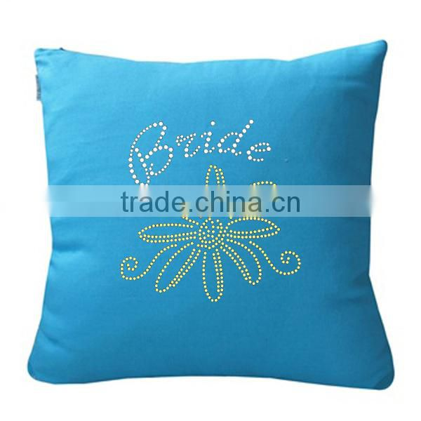 Home Decoration Pillow With Rhinestone Heat Transfer Motif