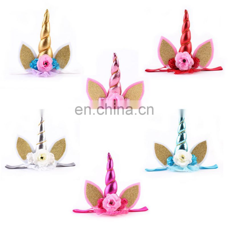 Baby unicorn headband birthday unicorn gift Flower horn unicorn Headband