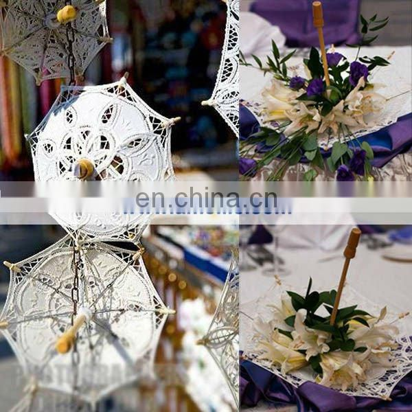 A0155-10cm White Color Wholesale Battenburg Lace Parasol Umbrella
