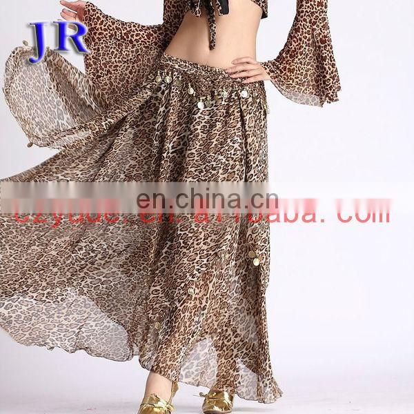 Arabic chiffon gold coins belly dance dancing skirt for women Q-6006#