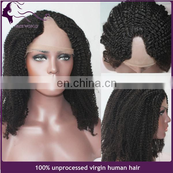 Top quality virgin remy human hair kinky curly u part wig