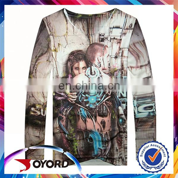 long sleeve T-shirts sublimation printed sportswear 100% polyester t shirt