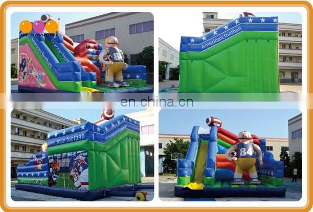 2015 AOQI latest design amusement park American football inflatable adults slides for sale