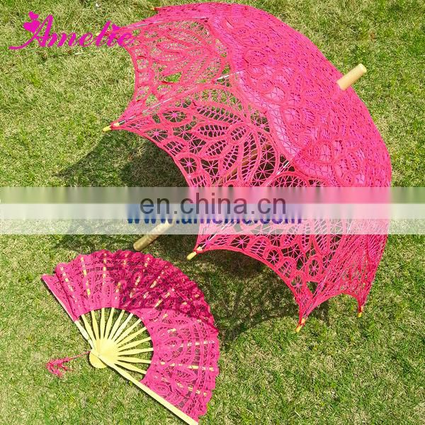 Hot Pink Victorian Lace Parasol and Fan