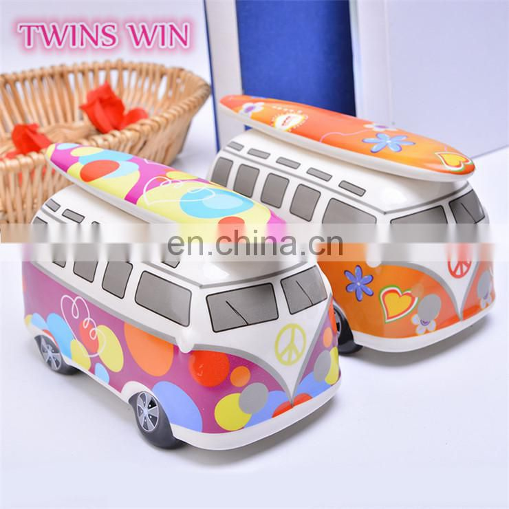 Hot sale in Amazon eBay gift for kids creative Bus car shape large piggy bank wholesale colorful ceramic money box
