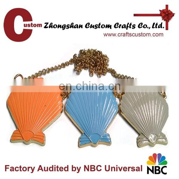 custom clothing accessory 3D seashell metal pendant necklace