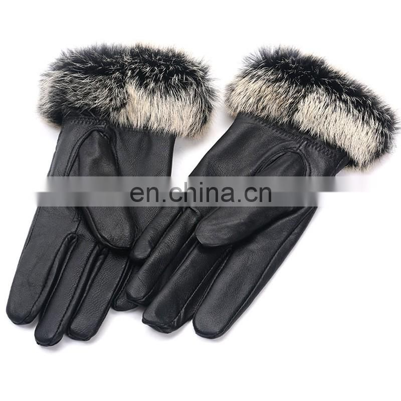 Wholesale winter Genuine leatehr fur gloves for ladies women