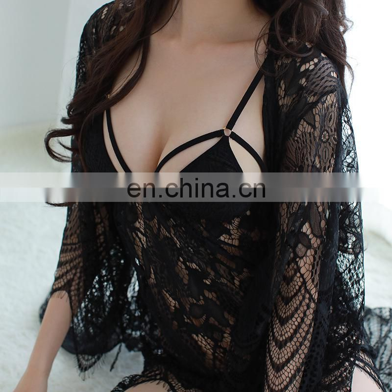 Sexy lace transparent Bohemian condole belt appeal pajamas , hot sexy lace sleep wear in stock