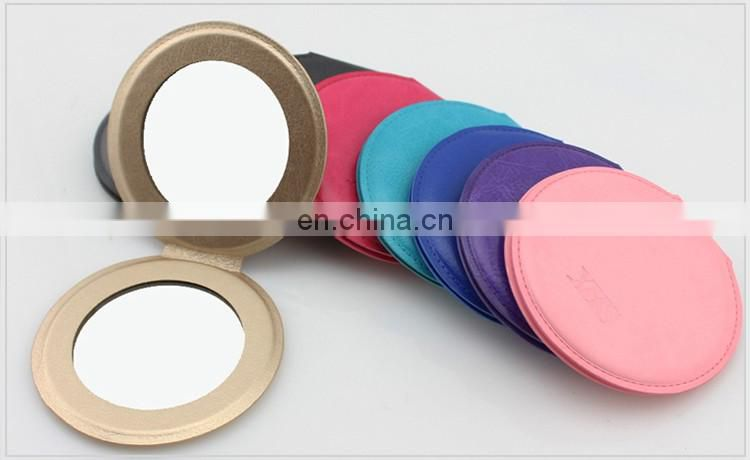 DIY design leather hand pocket mirror , customized LOGO round PU leather make up folding mirror
