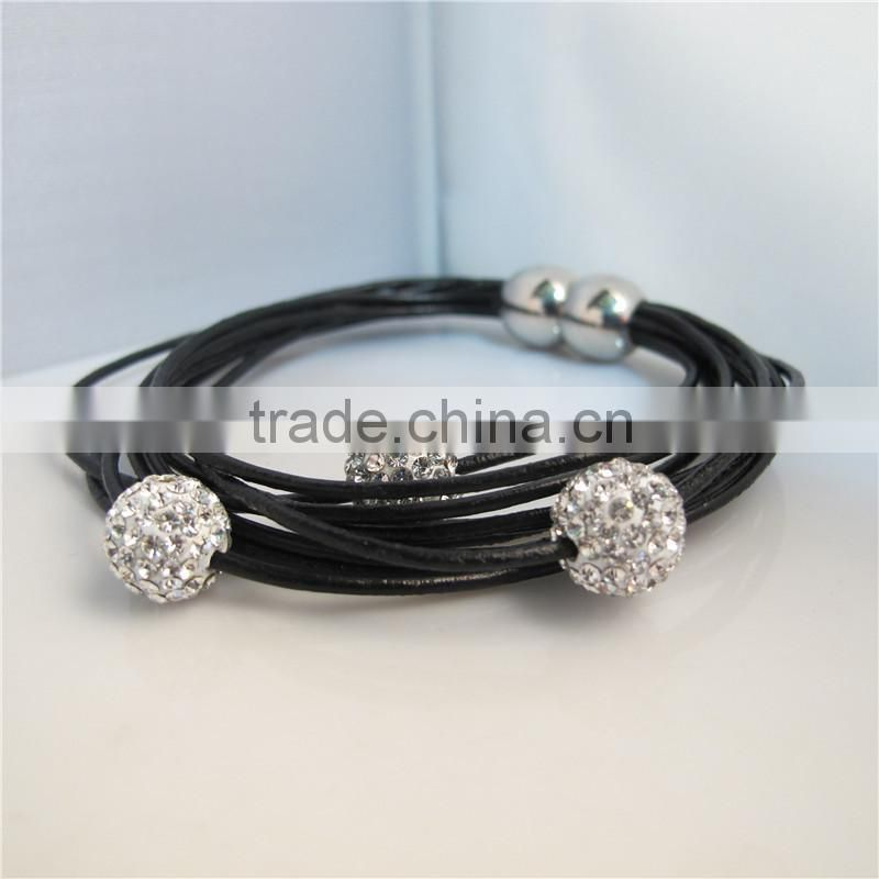 "2013 fashion Cowhide Leather Magnetic Clasps Bracelets Brown Clear Rhinestone Beads 20cm(7 7/8"") mix order RBB060"