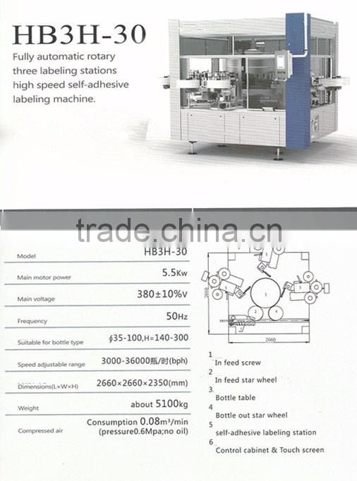 HB3H-30 Fully Automatic Three Sides Sticker Labeling Machine