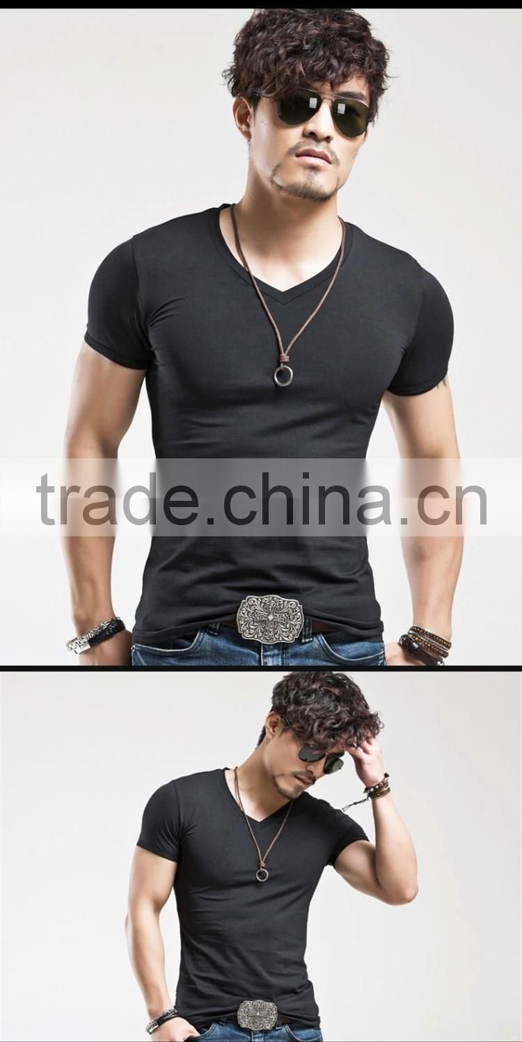 New 2016 Fashion Cheap V Neck short sleeve men t shirt