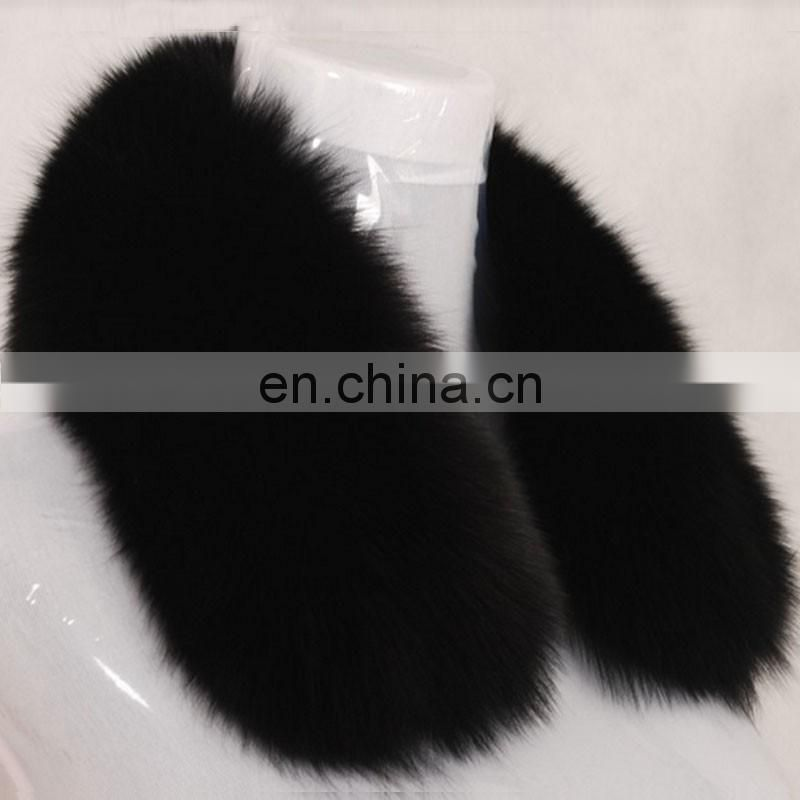 Black color fur square neck genuine big fox fur collar for men women