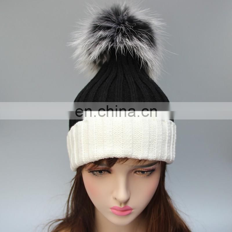 Latest design bi color big fur pom pom winter crochet hats with real fur ball