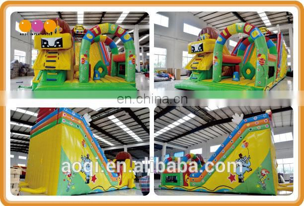 AOQI lion circus fun city / inflatable fun city with slide with free EN14960