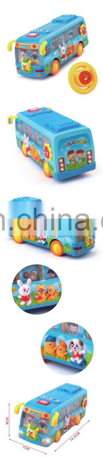 Plastic toy car electric school bus with steering wheel
