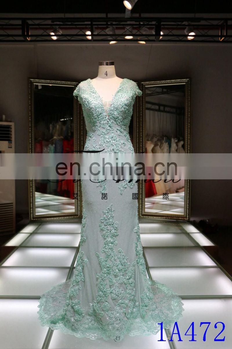1A472 Sexu Backless Deep V-neck Mermaid Train Lace Eveing Dress