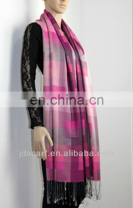 Best seller black and white mix color silky polyester silk Lattice scarves