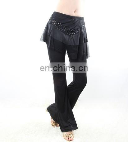 Ice silk hot drill black Belly dance skirt pants for women K-4032#