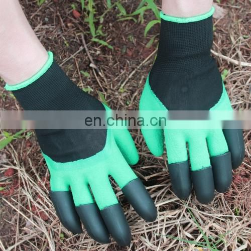 A Pair Latex Gloves with Claws ABS Plastic Gloves for Digging and Planting