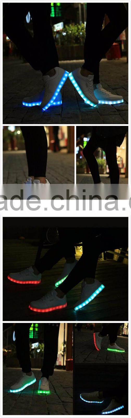 Factory Price Men Women 7 Color LED Luminous Sneaker Light Up Lace Unisex Casual Adults Led Shoes