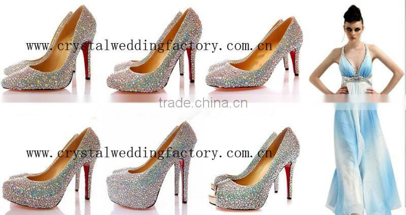 2012 new arrival appliqued beaded crystal high heel bridal shoes/dance shoes CWFas4138