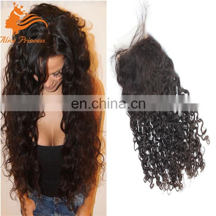 Hair 4x4 Full Lace Frontal With Baby Hair 100% Brazilian Virgin Hair Deep Curly Lace Frontal Closure