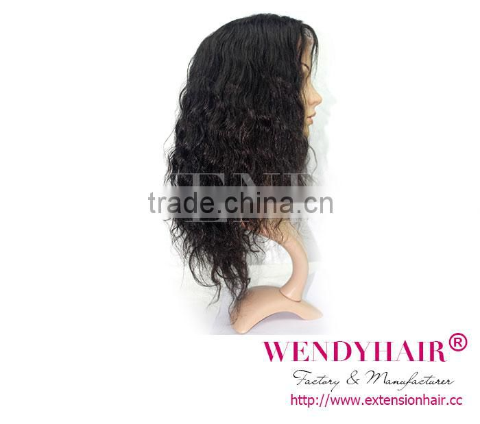 wendy wig product body wave natural color 100% handemade brazilian hair lace front wig for african