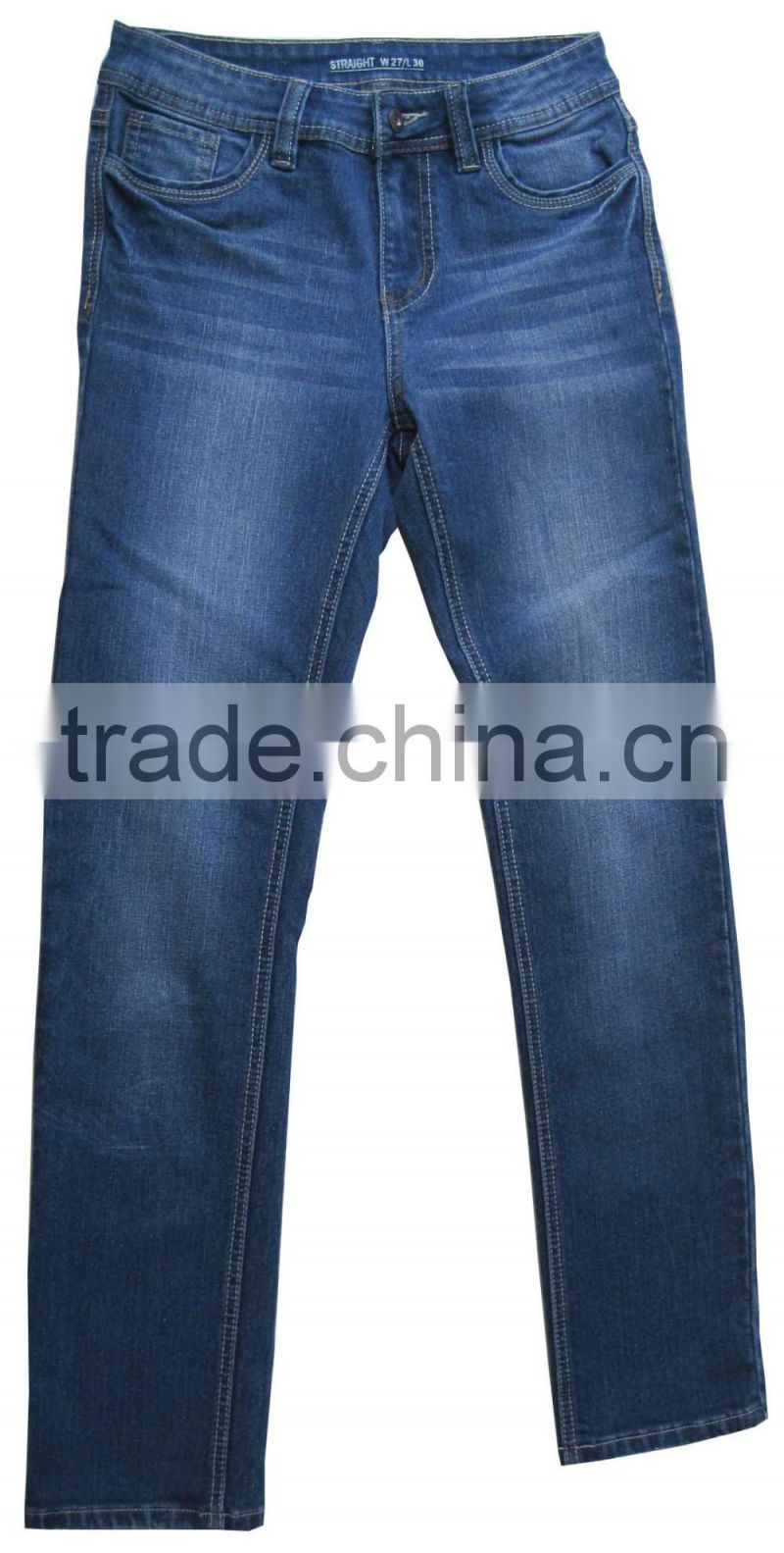 Female style women basic 5 pockets straight jeans ladies denim blue skinny jeans manufacturer