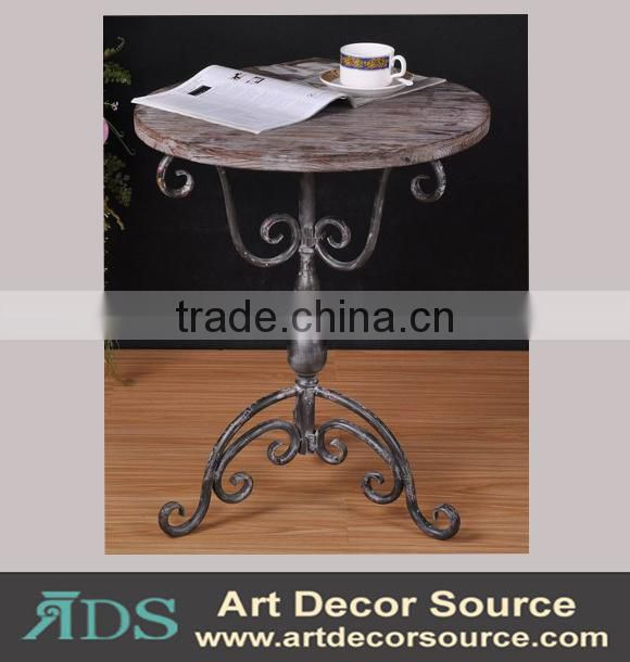 Antique metal frame console table with 4 wood drawers and shelf