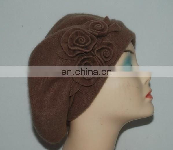 100% Wool With Rose flower beanie winter hat