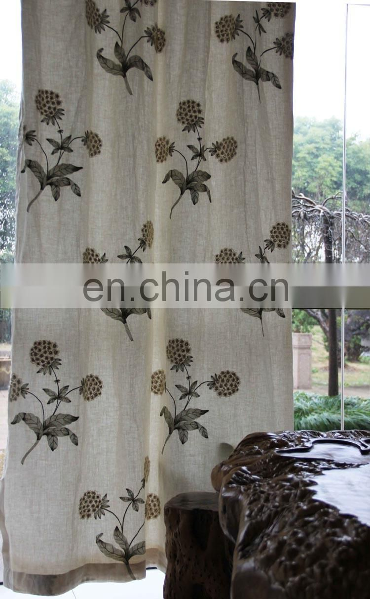 High-grade embroidered linen curtains