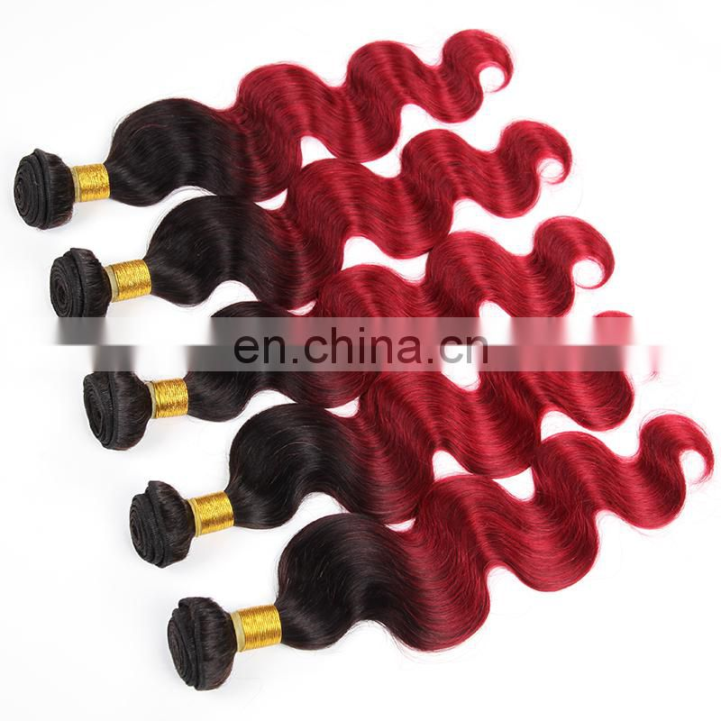 Ombre human hair color 1b bug red body wave