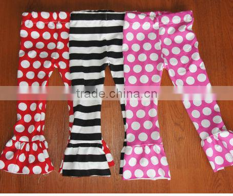 Hot new stripe pants black and white summer cool cotton petti Pants with double ruffle for kids
