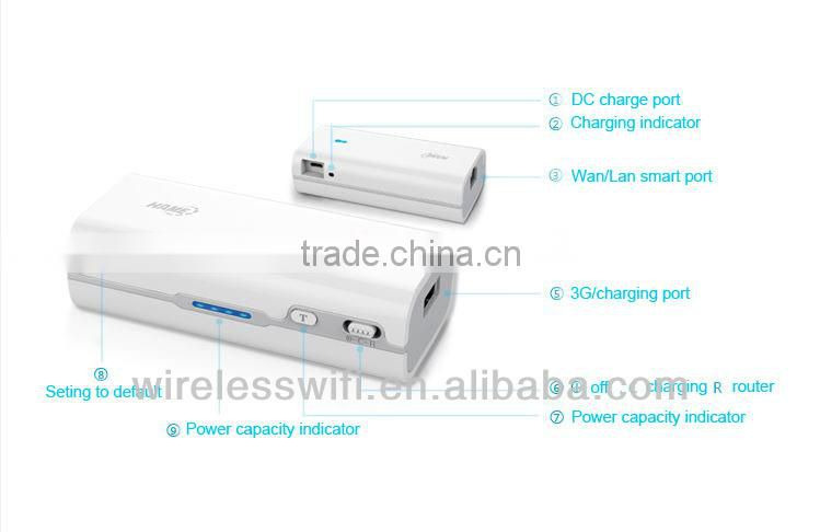 Portable 4400mAh power bank+ wireless N smart portable wifi repeater router gateway