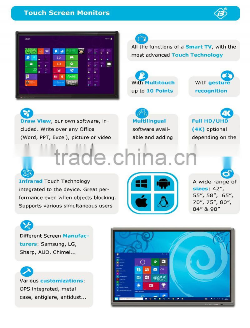 55 65 70 75 80 84 98 inch LED 4K Interactive Multi Touch