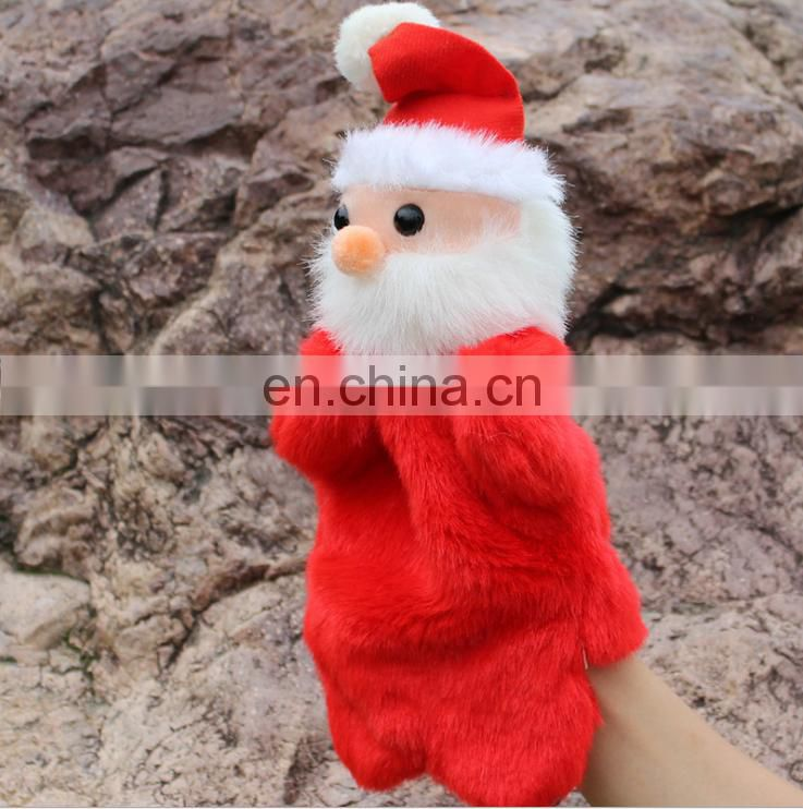 christmas santa hand made plush hand puppets toys for children