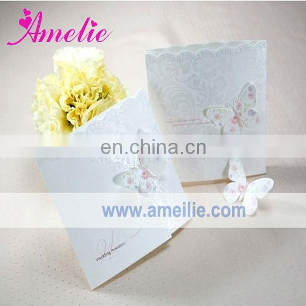 A0431 Butterfly Wholesale White Color Lovely Invitation Cards For Wedding