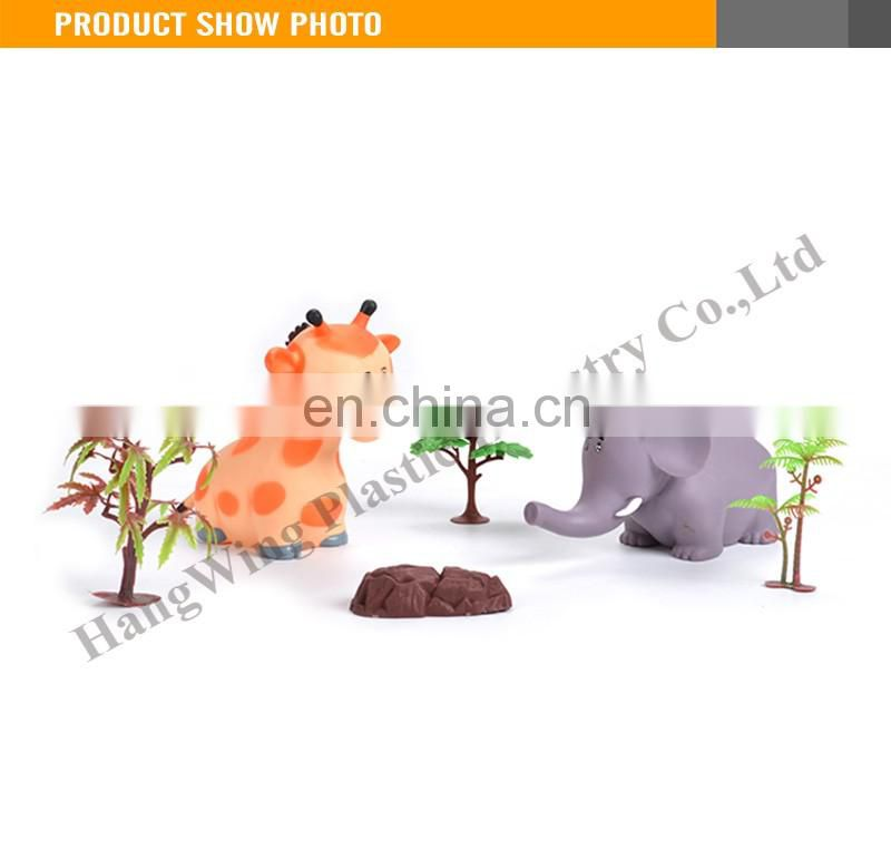 6 inches interesting vinyl and soft giraffe and elephant animal rubber toys