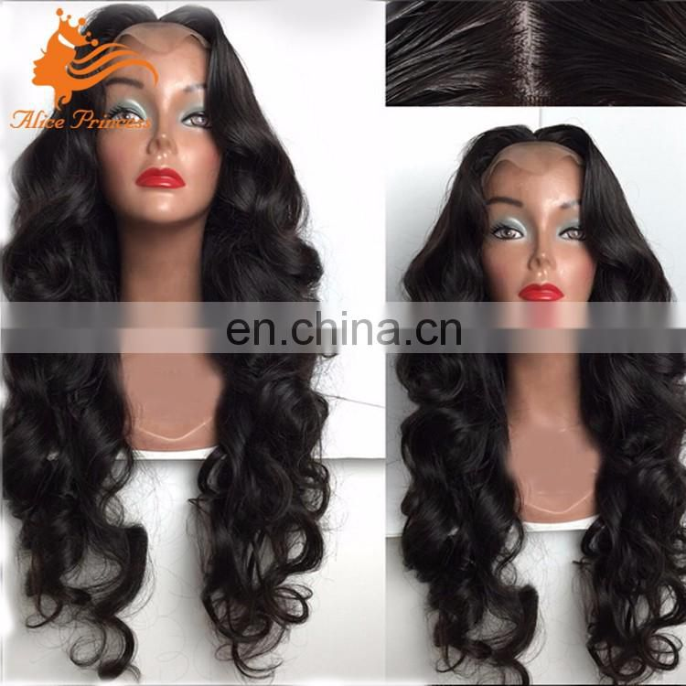100% Raw Human Hair Full Lace Wig Middle Part Body Wave Virgin Malaysian Human Hair Wig For Black Women