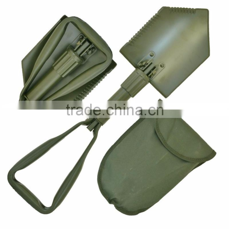 Folding Spade with Bag, Olive Green Comparable Bundeswehr / US Army Military Shovel / Field Spade